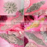 New Design Bridal Beaded Rhinestone Trimming Applique For Wedding Sash Crystal Bridal Applique For Wedding Dress