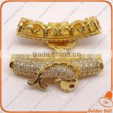 BJ4516 tube micro pave beads with fish pattern