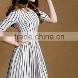 comfortable new collection cotton and linen black and white stripes half sleeves slim fitting dress