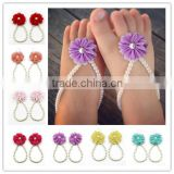 Wholesale Infant Newborn Barefoot Ring Summer Shoes Baby Girls Pearl Flower Barefoot Sandals                                                                         Quality Choice