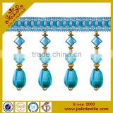 Fringes wholesalers curtain fabric crystal bead and rayon material beaded fringe with suede fabric