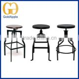 Commercial Bar furniture Vintage Metal Industrial Bar counter stool chairs with Adjustable Wooden Seat