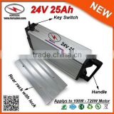 Waterproof Shell 300W 400W 500W 24V 25Ah Price Ebike Battery with 18650 3.7V 2.5Ah Cell + 2A Charger + 30A BMS