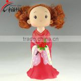Eco-friendly cute cartoon fashion girl shape with red beautiful dress and bag money box