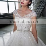 Latest Alibaba Simple Elegant Heavy Beaded A Line Wedding Dresses Vestidos de Novia With Crystal Sash 2016 LWA03
