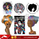 Afro Girl Digital Printing Glitter Vinyl Rhinestone Iron On Transfers