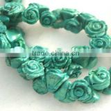 16inch blue carved rose flower loose turquoise beads