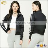 Ecoach free shipping wholesale long sleeve 100%polyester lightweight custom women Striped casual track Jacket