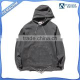 denim high quality pullover design your own 100% cotton oversized muscle fit plain black hoodie men customize string