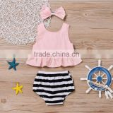 Wholesale Baby Summer Outfits Pink Sleeveless Top With Stripe Bloomer Girls Bow Headband