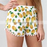 New Arrival Girls Shorts Womens Pom Pom Trimming Shorts Cotton Printed Ladies Viscose Beach Short Casual Jogging Pineapple Short