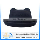 English black bowler derby hat with cat ear