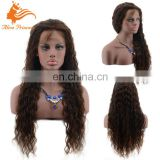 Hot Wholesale Premium Quality Long Glueless Brown Brazilian Human Virgin Hair Lace Front Wig With Baby Hair