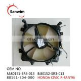 1996 HON-DA CIV-IC Air Conditioning Fan OM:80161-S04-000 M:80151-SR3-013 B:80152-SR3-013