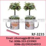Promotional Wholesale Painted U Shape Ceramic Cheap Flower Pots