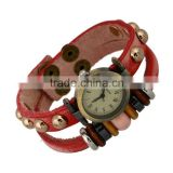 Fashion leather wrapped watch bangle bracelets with wood charms beads slap snap bracelets