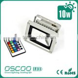 Oscoo Top-Sale IP65 Die Casting Aluminium CE&Rohs 10W RGB LED Flood Light Square Light with Colorful Lights