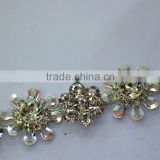 Wholesale Crystal Flower, Rhinestone Cup Chain, Silver Crystal Chain Trim, Flower Glass Stone Cup Chain for Dress