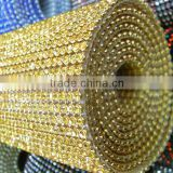 Best Quality Metal Setting Hot fix Crystal Trimming 120*45cm, Hot fix Cristal Rhinestone Roll, Iron on Cristal Net Wholesale