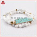 Women's Double Row Howlite Turquoise Bead & rectangle bar howlite rosary Beaded Stretch Bracelet