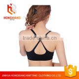 Hongxiang women professional sports bra, shock no rims yoga underwear, wicking running fitness Cross back bra