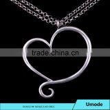 Fashion Women Jewelry White Gold Plated Promotional Heart Pendant Necklace for Dear Mom