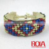 Make braided leather bracelet with beads WHOLEALE JEWELRY FASHION ORNAMENT ACCESSORY