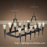 Vintage Antique Black Iron Chandelier Pipe Metal rectangle 12 lights restaurant led chandelier