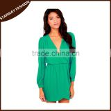 Hot selling summer women V neck long sleeve casual dress/