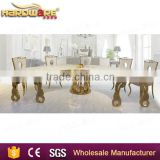 Antique latest MDF stainless steel leg half round dining banquet table illuminated dining table