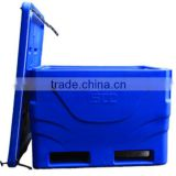 600L insulated plastic ice cooler for fish transport and store use in vessel with forklift slots