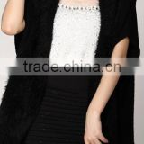 Fashion lady short sleeves splice mohair with long tassel new style knitted cardigan poncho