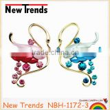 Gold fashion big crystal fairlady swan brooches multi color 2014