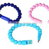 Colored Fashion High Quality Wearable Bracelet Bead Micro USB cable for Samsung,HTC,Motorola Android Smartphones