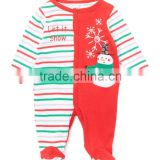 2016 New Winter Red Green Stripe Cotton Infant Footie Cute Girls Baby Romper Snowman Pattern Children Clothes G-NPRR90628-17
