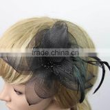 2015 Pin Hot Black Flower Feather Organza Mesh Hair Clip Fascinator Wedding