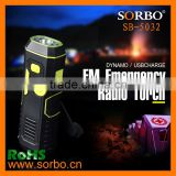 Portable FM Radio torch dynamo rechargeable flashlight hand crank with mobile phone charger