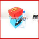 Custom Big Smile Face Active Red Blue Square Corrugated Storage Gift Box With Long Yellow Ribbon Wholesale