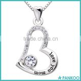"Fashion Jewelry 925 Sterling Silver ""love you mom"" Love Heart Pendant Necklace for Birthday, Mother's day,Christmas Gift"