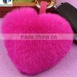 Factory Direct China Supplier Real Rex Rabbit Fur Lovers Heart Shape Key Chain with Metal Buckle