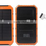 20000mah Portable Waterproof Solar Power Bank Dual-USB Solar External Battery Backup Charger for Cell Phone