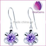 New design 925 sterling silver fishhook earring amethyst flower shape earring sold by pairs
