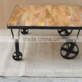 Industrial Vintage furniture Coffee table, Reclaimed wood Coffee table with wheels