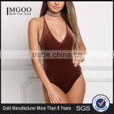 MGOO Fashion Factory Made Cross Strap Velvet Bodysuits Custom Deep V Neck Bloues Tops Sleeveless Custom