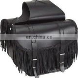 HMB-4018A LEATHER MOTORCYCLE SADDLE BAGS SET FRINGES BRAIDED STRAIGHT