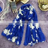 New Spring Section of High-grade Silk Elegant Blue Pattern Breathable Thin Embroidery Shawl Female Scarf