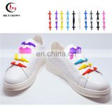 Design your own high quality round elastic silicone shoelaces lazy no tie shoe laces for shoes