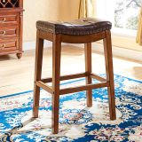 IVSY 7066 Simple Antique Bar Stool Hotel Furniture Home Bar Chair Restaurant Solid Wood Stool 21.5