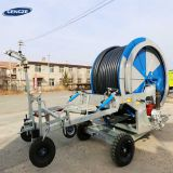 Agricultural farm water turbine hose reel irrigation sprinkler system with rain gun