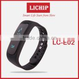 OLED screen /call remind/sleep monitor/Calorie/pedometer/IP56 waterproof/Time/Tempreture E02 Smart Bracelet